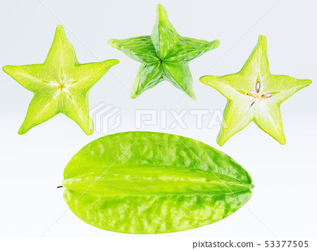 Green fruit of a carambola or starfruit 53377505