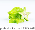 Green fruit of a carambola or starfruit 53377548