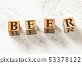 Four wooden cubes with letters BEER meaning BEHAVIOUR EFFECT EXPECTATION RESULTS on white working 53378122