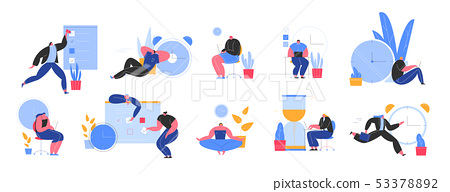 Set of people successfully organizing their appointments and tasks . Situations and office scenes 53378892