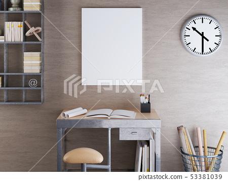 mockup blank on beige wall with metal furniture. 53381039