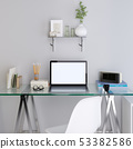 mockup laptop monitor on your glass table. 53382586