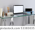 mockup laptop monitor on your glass table. 53383035