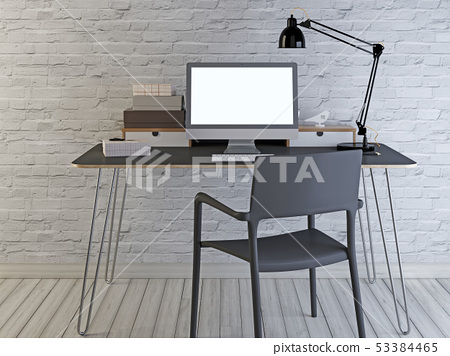 Mockup monitor on the desktop. 53384465