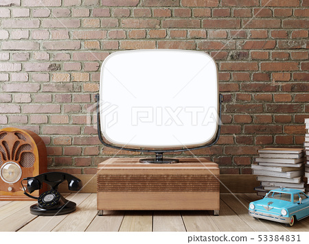 Stylish room with a TV and a retro mock up screen. 53384831