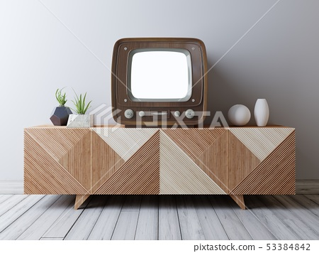 Vintage TV with mockup screen on the media unit. 53384842
