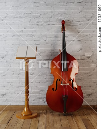 Wooden musical mockup poster stand and contrabass 53384860