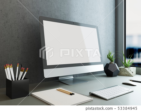mock up poster monitor template, workspace mock 53384945