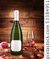 mock up poster on a bottle of champagne with 53384951
