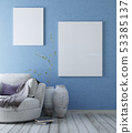 mock up blank on blue wall in the bright living 53385137