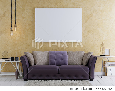 mock up blank poster on the wall of modern 53385142