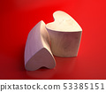 Two wooden hearts on a red background. 53385151