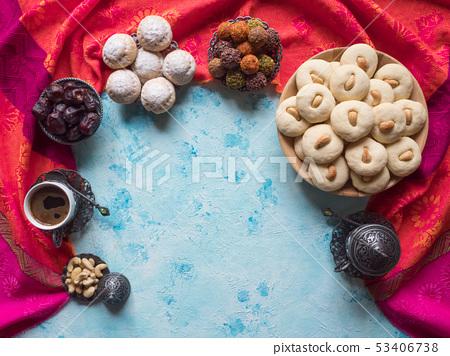 Ramadan food background. Eid eats. Ghorayeba sweet 53406738