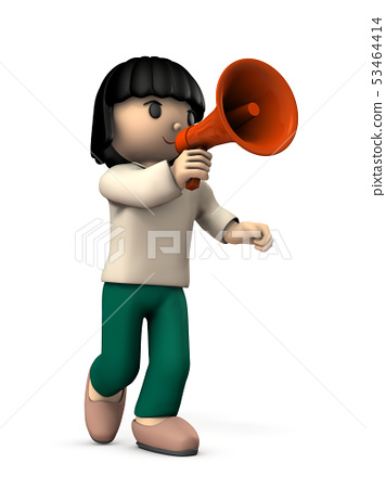 Girl requesting a megaphone with one hand 53464414