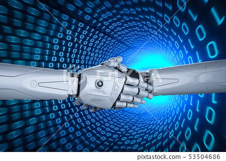 Robot hand shake 53504686