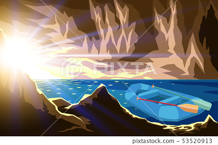 landscape of cave at the sea in morning 53520913