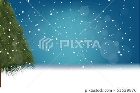 landscape of snowfall in forest in winter 53529976