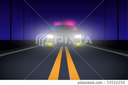 colorful light of a car on the road in the night 53532250