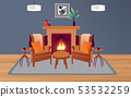 chairs and wooden table with fireplace in the livi 53532259