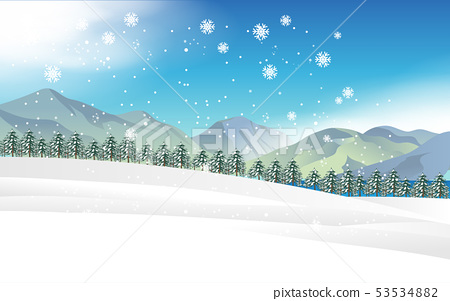 landscape of snowfall in forest in winter 53534882
