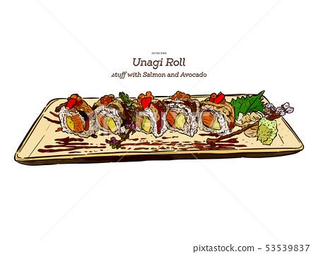 Japanese traditional food, Unagi roll sushi. Hand 53539837