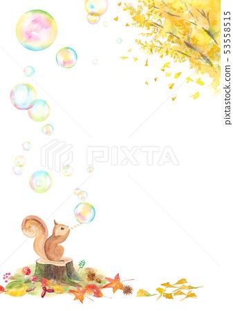 松鼠噴銀杏和肥皂泡 53558515