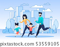 Happy Family on Jogging in City Flat Illustration 53559105