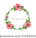 Hibiscus flower and leaves frame. Watercolor. 53568309