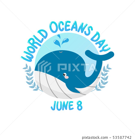 world ocean day with whale spray water in circle 53587742