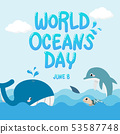 World Oceans Day. whale dolphin shark swim in sea 53587748