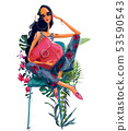 young beautiful summer woman with tropical flowers 53590543