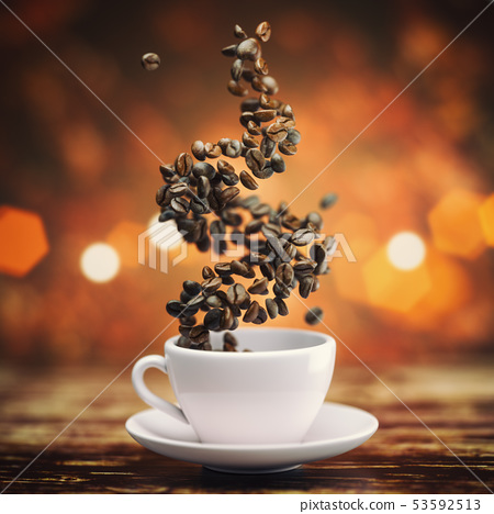 Coffee cup with coffee beans on wooden teble. 53592513