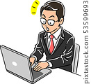 Man of manager who operates the laptop notice 53599693