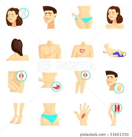 Vector illustration of pain and disease symbol. Collection of pain and injury stock symbol for web. 53601350