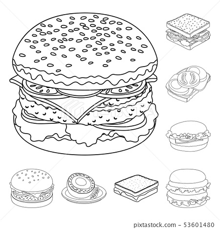 Vector design of sandwich and wrap sign. Collection of sandwich and lunch stock vector illustration. 53601480