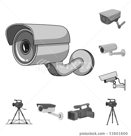 Vector design of camcorder and camera logo. Collection of camcorder and dashboard vector icon for 53601600