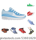 Vector illustration of shoe and sport symbol. Set of shoe and fitness stock symbol for web. 53601629