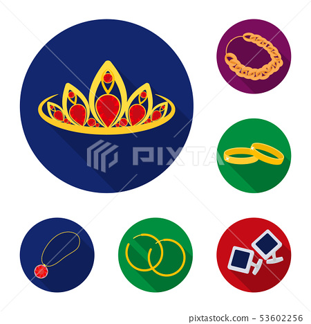 Vector design of jewelery and necklace icon. Set of jewelery and pendent stock vector illustration. 53602256