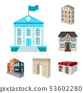 Vector illustration of building and city icon. Collection of building and business vector icon for 53602280