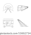 Vector design of railroad and train logo. Set of railroad and way stock vector illustration. 53602734