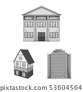 Isolated object of building and city icon. Collection of building and business stock symbol for web. 53604564