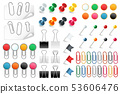 Pins paper clips. Push pins fasteners staple tack pin colored paper clip office organized 53606476