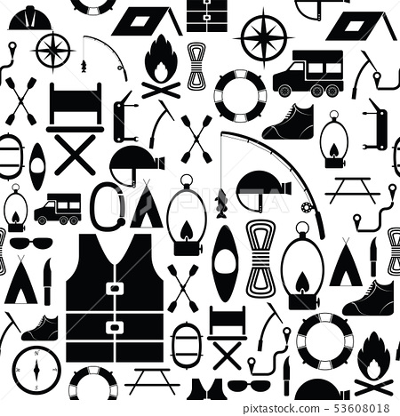 camping seamless pattern background icon. 53608018