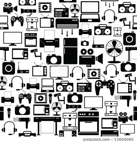 electronic seamless pattern background icon. 53608060