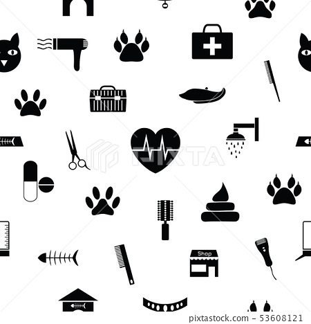 cat seamless pattern background icon. 53608121