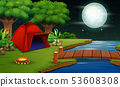 Camping in night time with beautiful nature view 53608308