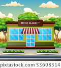 Mini market building outdoors with trees, sky 53608314