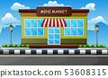 Mini market building outdoors on the roadside 53608315