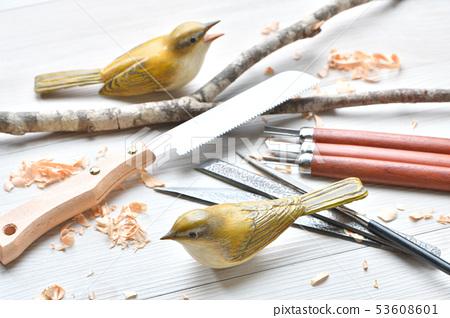 Bird carving. Wild bird wood sculpture, wild bird sculpture. Colored is a warbler. *This is a work in progress by an amateur. 53608601