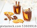 Mulled wine on white table in night celebration of 53609916